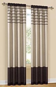 "SleepMACs Twin Pack CITY SCAPE Mocha Rod Pocket Curtain Panels 80""x84"""