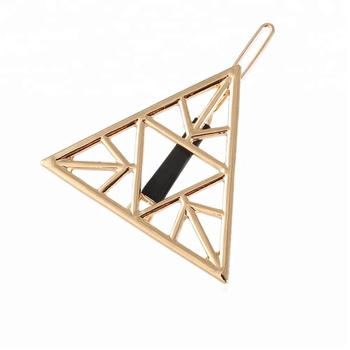 2018 New design triangle shaped carved metal fixed hair clip accessories