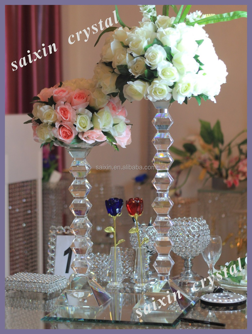 Shiny crystal wedding flower stands for wedding decoration, View ...