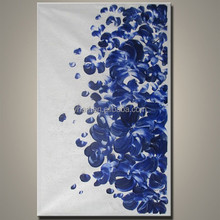 High Quality Home Decor abstract modern Knife blue flower oil painting on canvas