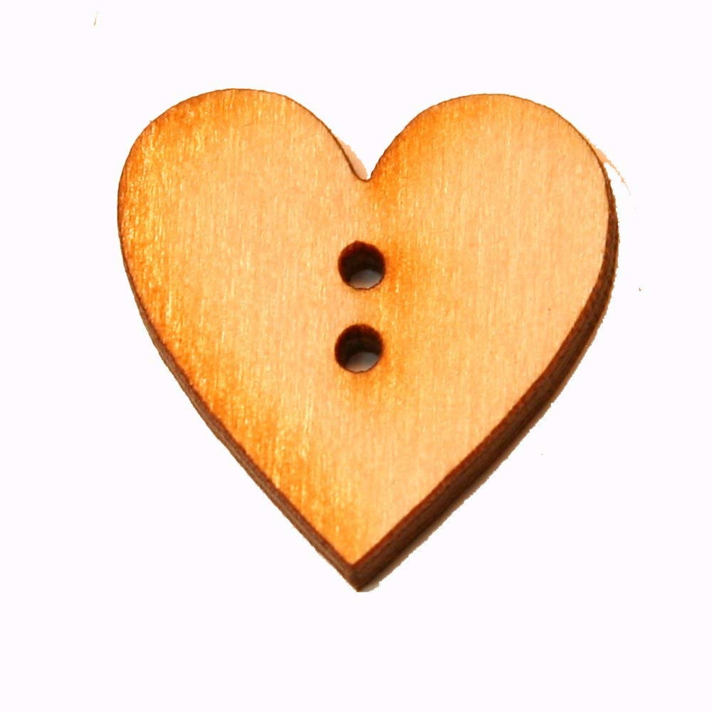 Mylittlewoodshop - Pkg of 12 - Heart - 1 inch by 1 inch and 2 .05 button holes and 1/8 inch thick unfinished wood(LC-HARTBUT01-12)