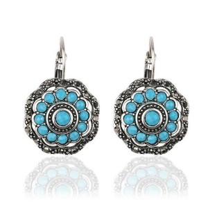Famous product pave blue acrylic diamond vintage antique silver earrings