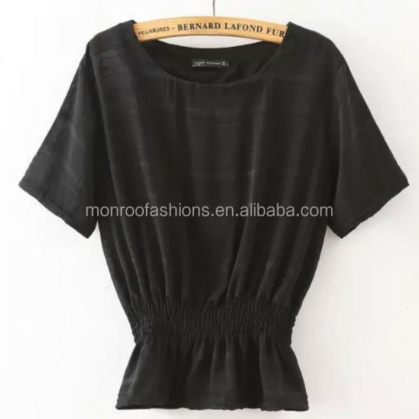monroo Newest style women 3 colors elastic waist blouse ladies tops latest fashion