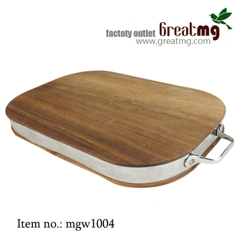 Wood Reversible Round Cutting Board With Stainless Steel