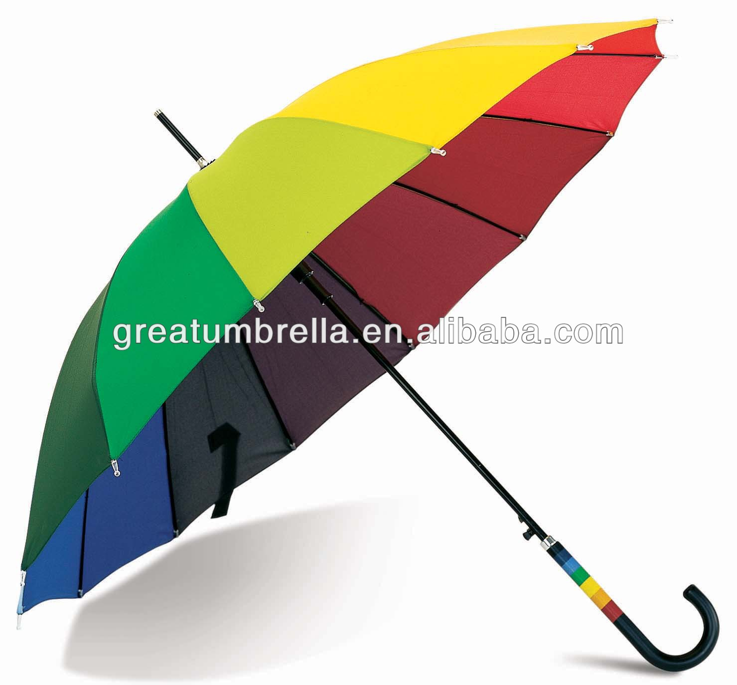 Full color impresso 16 costelas barato big rainbow umbrella