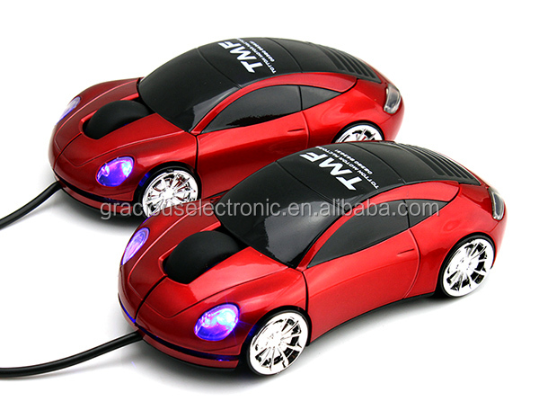 New best blue headlight wired race car mouse with logo