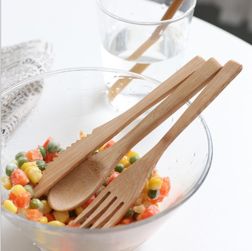 Bamboo knife fork and spoon utensils set outdoor travel  picnic/ dinner package