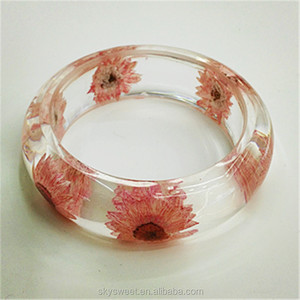 ladies fancy wide plastic bangle, pink flowers clear resin bangle(SWTJU1683)