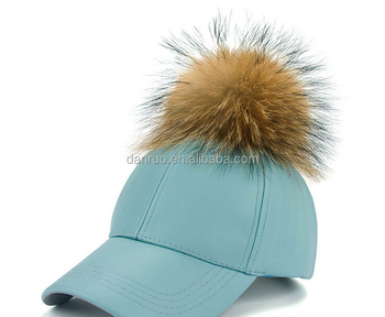 ce192628d4e Leather Fur Ball Baseball Cap Pompom Pu Winter Men Women Hat - Buy ...