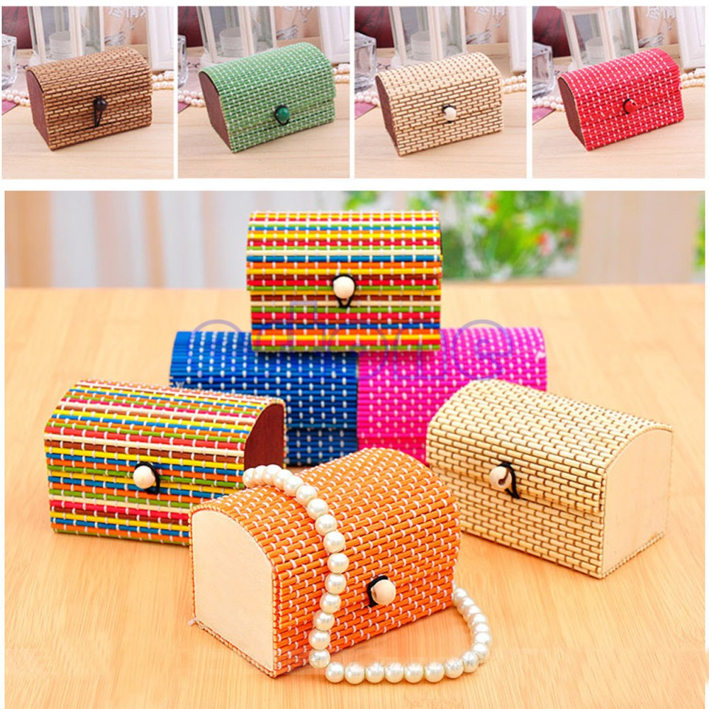 Retro Handmade Fashion Cute Mini Bamboo Square Wooden Jewelry Boxes