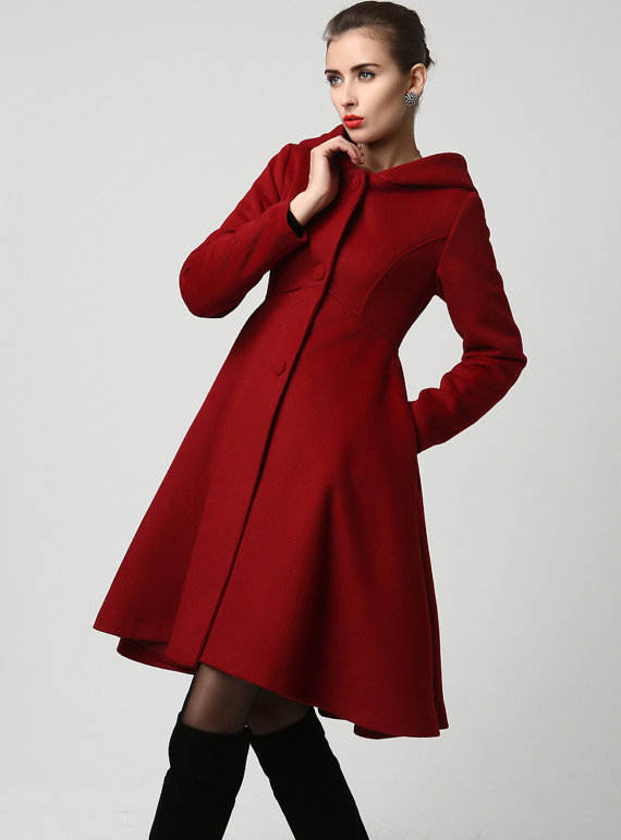 Fashion Women Red Wool Midi Winter Coat Dress With Hood