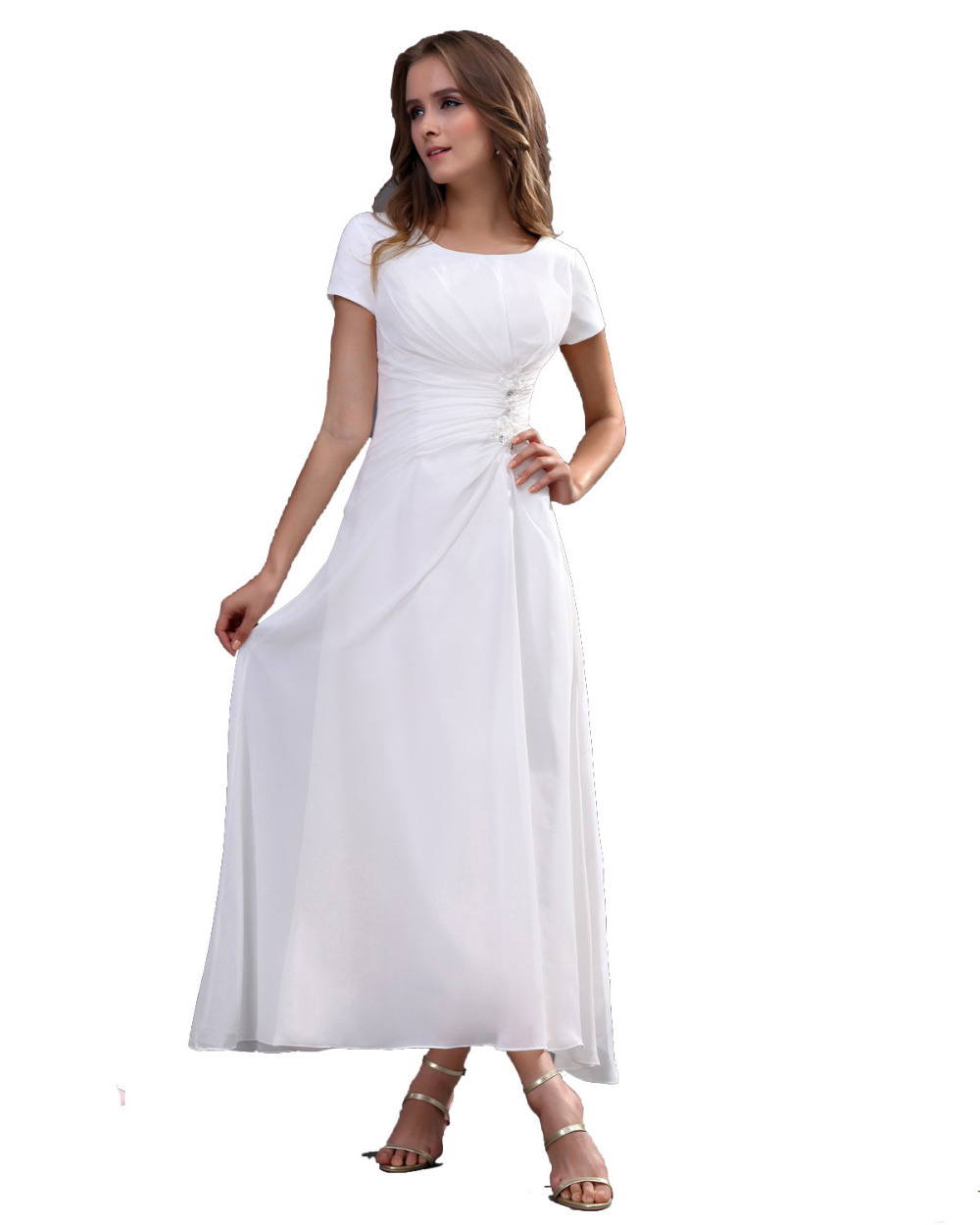 Simple Elegant Tea Length Chiffon Cap Sleeve Wedding: 2015-bridesmaid-dress-Tea-Length-white-Cap-sleeve-chiffon