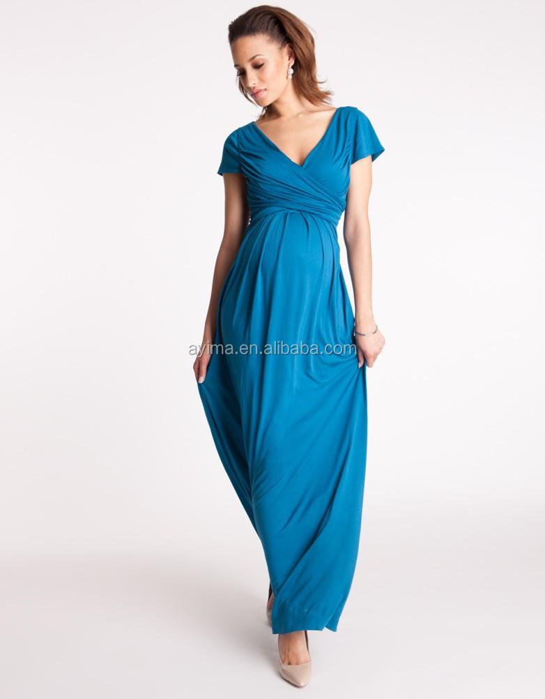 Hot Sale Aqua Draped Maternity Maxi Dress Pregnant Evening Dress ...