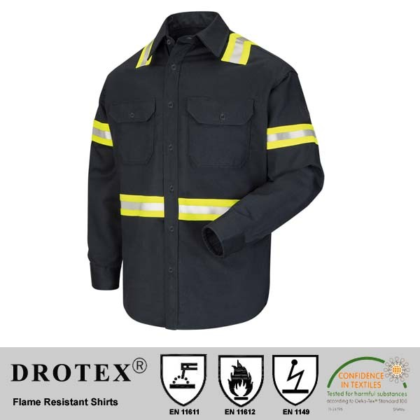 cotton nylon blending flame resistant warning work shirt with reflective tape