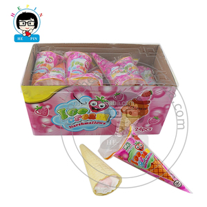 Hot sale Ice Cream Shape Marshmallow in Ice Cream Plastic Bag Strawberry Marshmallow Candy