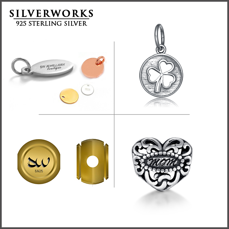 Professional Custom made 925 sterling silver jewelry charm beads, jewelry logo tags & logo charm