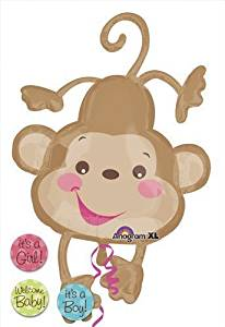 """Single Source Party Suppies - 40"""" Baby Monkey Fisher-Price Shape Mylar Foil Balloon"""