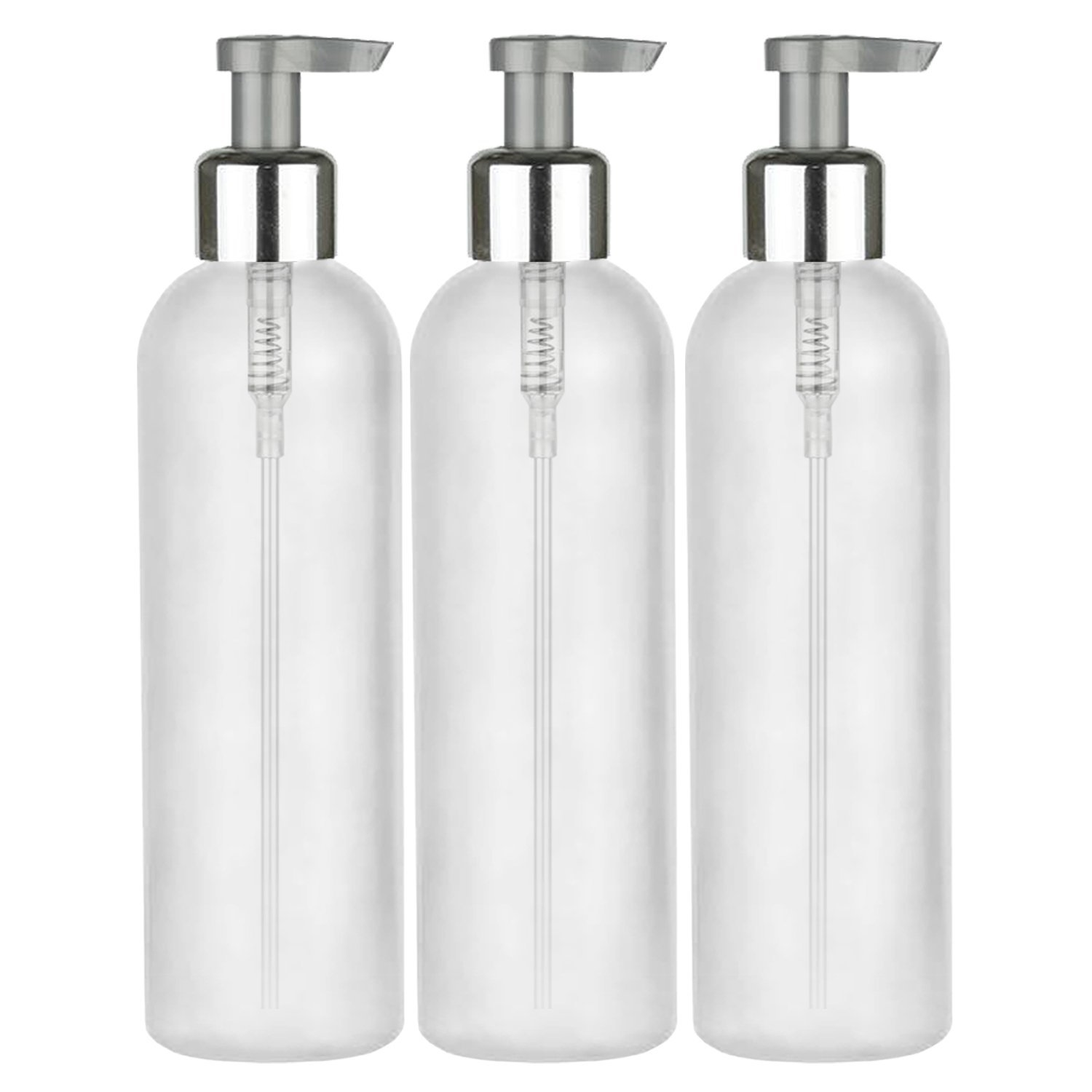MoYo Natural Labs 4 oz Pump Dispenser, Refillable Empty Soap and Lotion Pump Bottles with Silver Locking Cap, BPA Free HDPE Plastic Containers for Essential Oils/Liquids (Pack of 3, Translucent White)