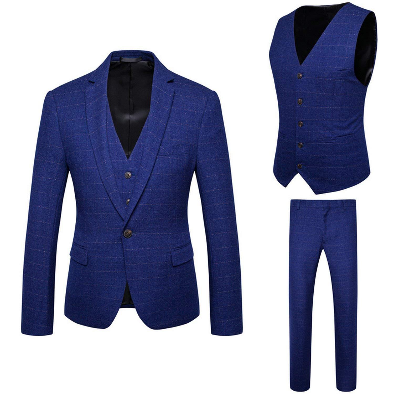 8cd2136f40c9 Buy Mens Suits Dark Blue Slim Fit 3 Piece, Best Man Suit Set in ...