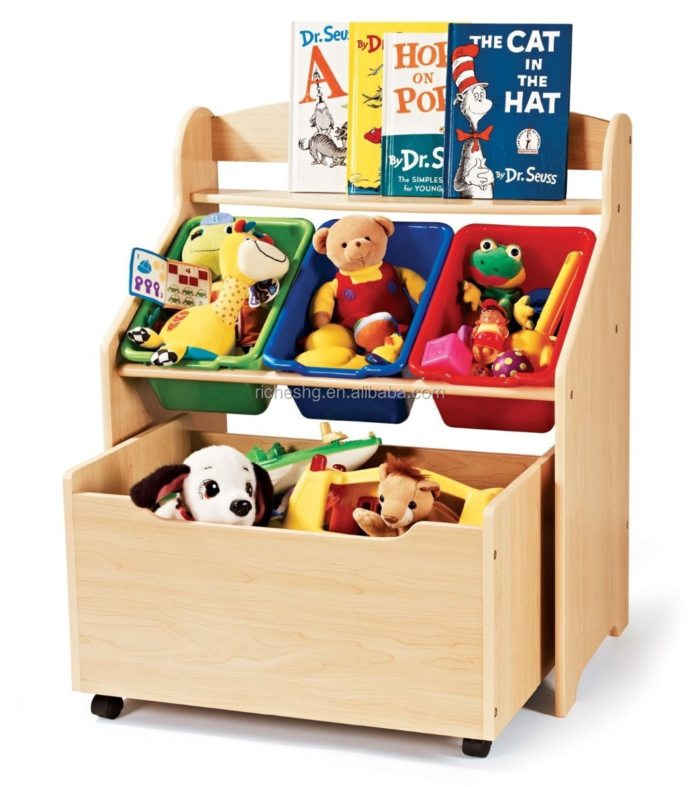 New And Por Design Wooden Toy Organizer For Kids With 5 Plastic Bins 2 Tier