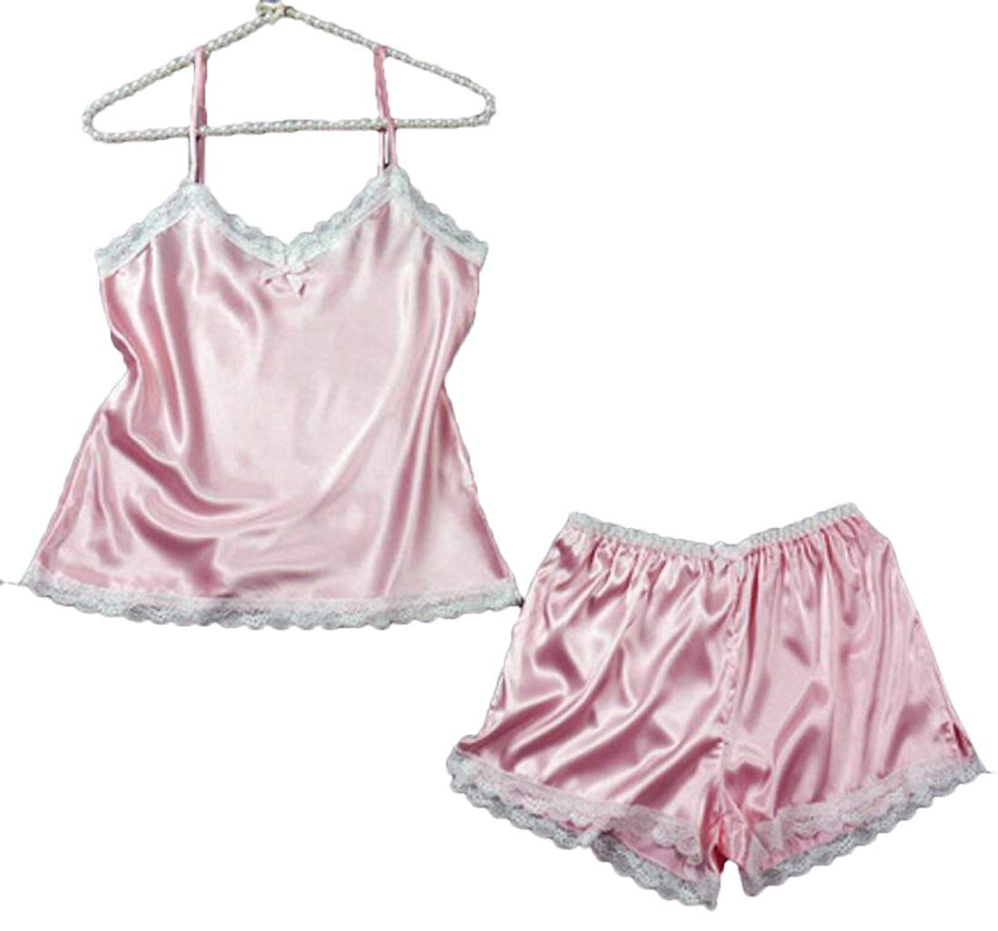 92691e072b9 Get Quotations · Pivaconis Womens Sleepwear Satin Pajama Spaghetti Strap Set  Sexy Nightwear Suits
