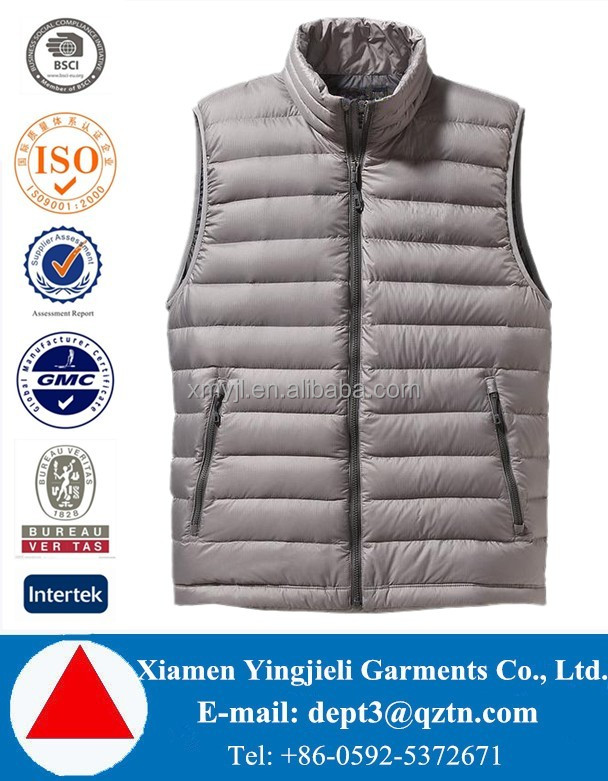 Outdoor Ultralight Packable Men Duck Down Vest For Winters