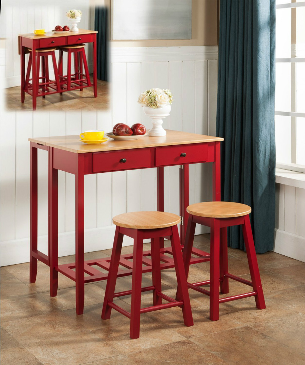 Counter Height Breakfast Bar Set Wood Drop Down Table & 2 Stools ...