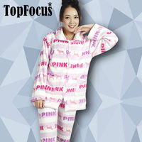 Factory Sell Long Sleeves Winte Sets Printed Fleece Nightclothes Stock Apparel