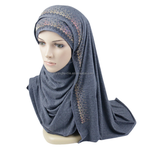 95% cotton 5% spandex of 80cm*180cm popular design sequined jersey cotton Hijab scarf