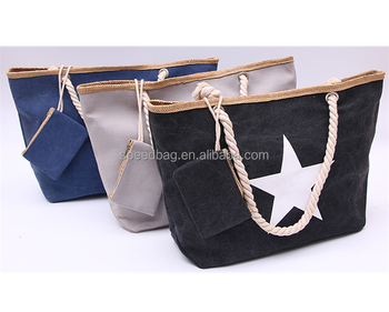 wholesale star printing colorful canvas beach bag with logo