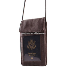 Handmade Genuine Leather Hanging Travel Document Organizer Passport Neck Pouch