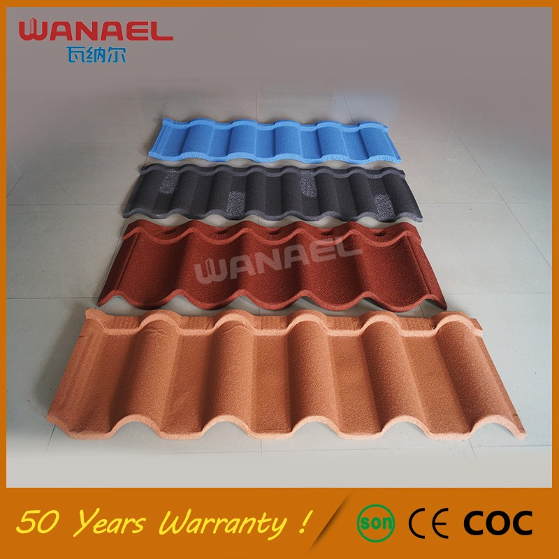 Guanghzou Roofing Material Wanael Nolan Color Stoned Metalled Metal Roof  Tile, Stone Coating Roof Tile
