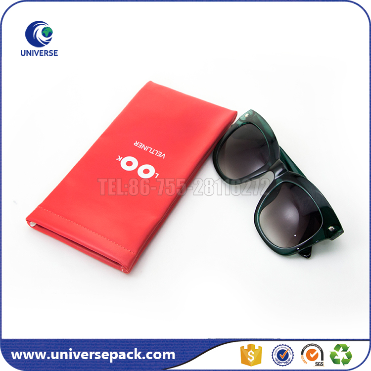 Custom Printed Small Pu Leather Sunglasses Pouch With Spring Top