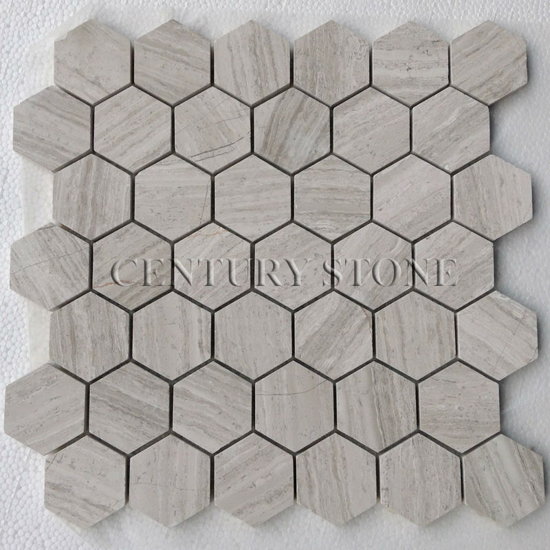 2 39 39 hexagonale bois blanc marbre mosa que sol carrelage for Carrelage hexagonal marbre
