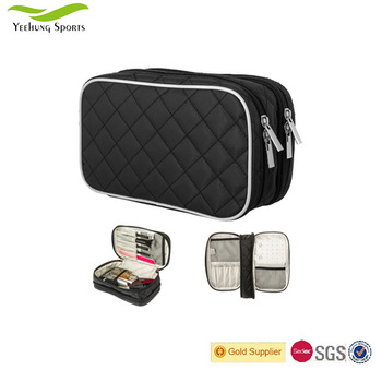 Double Layer Cosmetic Bag Multiple Compartments Toiletry Case Make Up Brush Holder