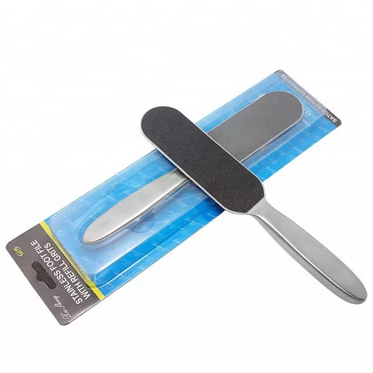 High Quality Double Side Stainless Steel Pedicure Foot File Replaceable Sandpaper Metal Callus Remover