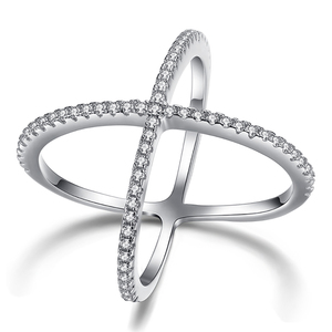Fashion Double Cross Ring Genuine 925 Sterling Silver Finger Ring Filled White Crystal Stone Rings for Women
