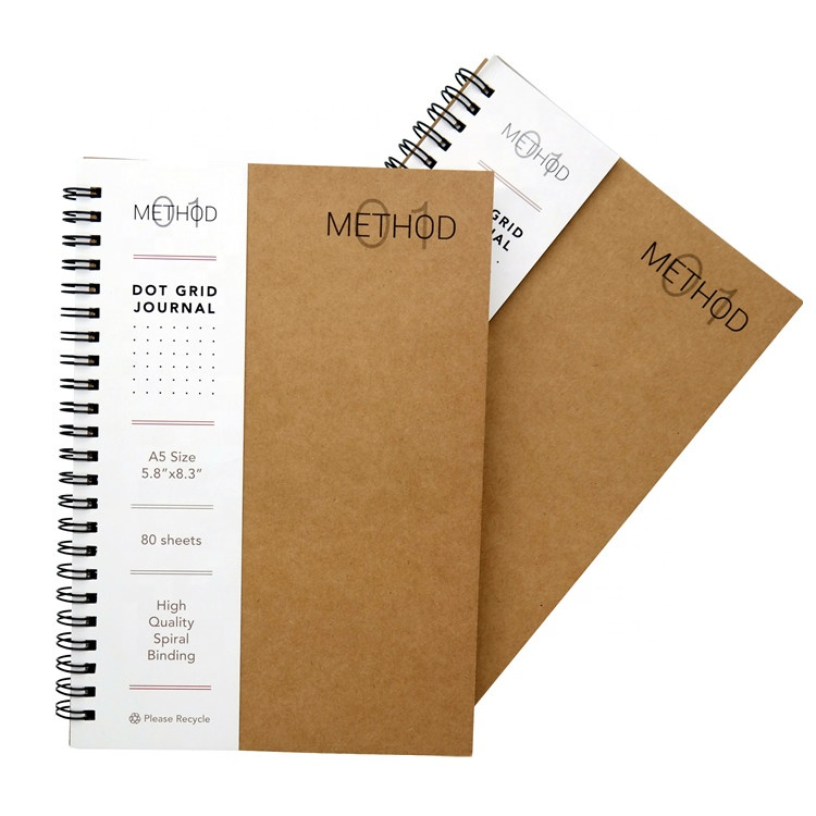 Custom Kraft Kertas Penutup Spiral Dot Grid Notebook dengan Saku