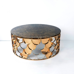 Round Shape Stainless Steel Rose Gold Marble Top Coffee Table