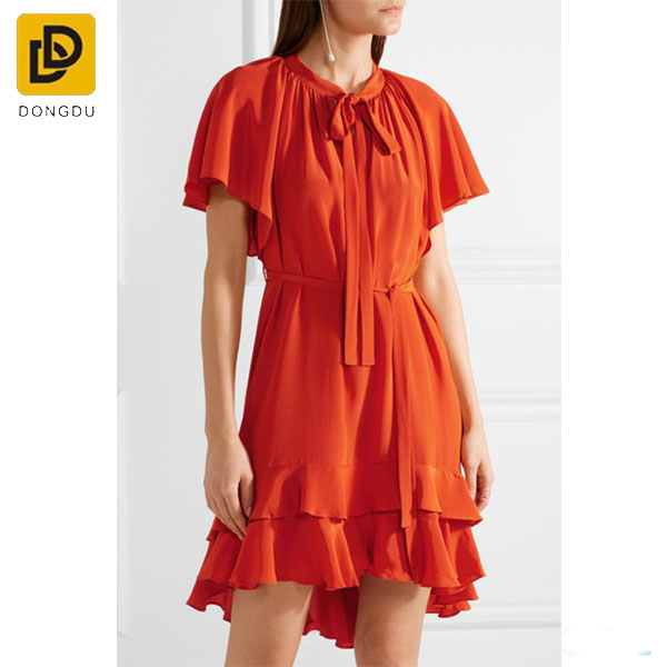 Best Selling Products Velvet Trimmed Red Silk Crepe Pleated Long Shirt Dress For Ladies With Front Button Fastening