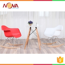 Morden colorful PP plastic chair with wooden legs rocking chair