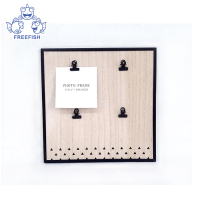 Multi-Use Framed Wall Organizer with Clips, Natural Wood Finish, Black Metal package edge
