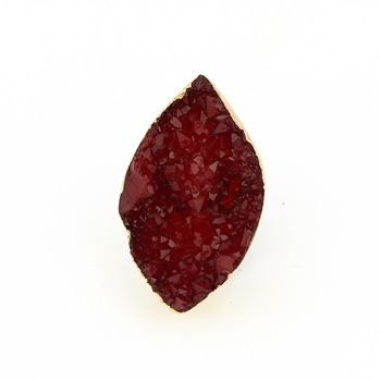 Large leaf design red resin stone ring for women