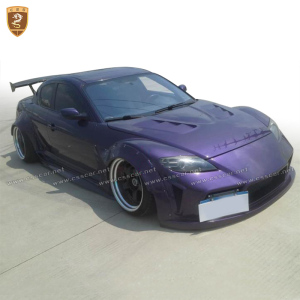 Wide auto body kit for mazda rx8 fiber glass best price body kits