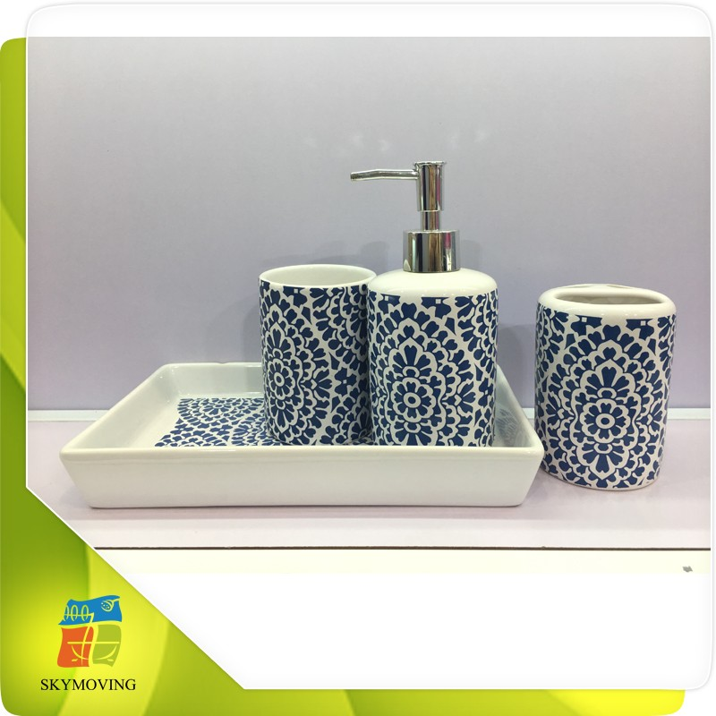 White bathroom accessories blue and white porcelain for Blue white bathroom accessories