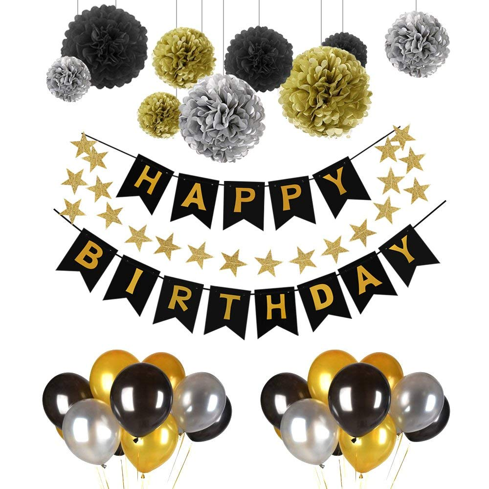 Vegkey Birthday Decorations,Happy Birthday Decorations Party Supplies- 40 Packs with 1 Happy Birthday Banner,30 Pack Balloons and 9 Pack Paper Garland-Black