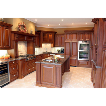 Prefabricated White Color Beech Wooded Kitchen Cabinets ...