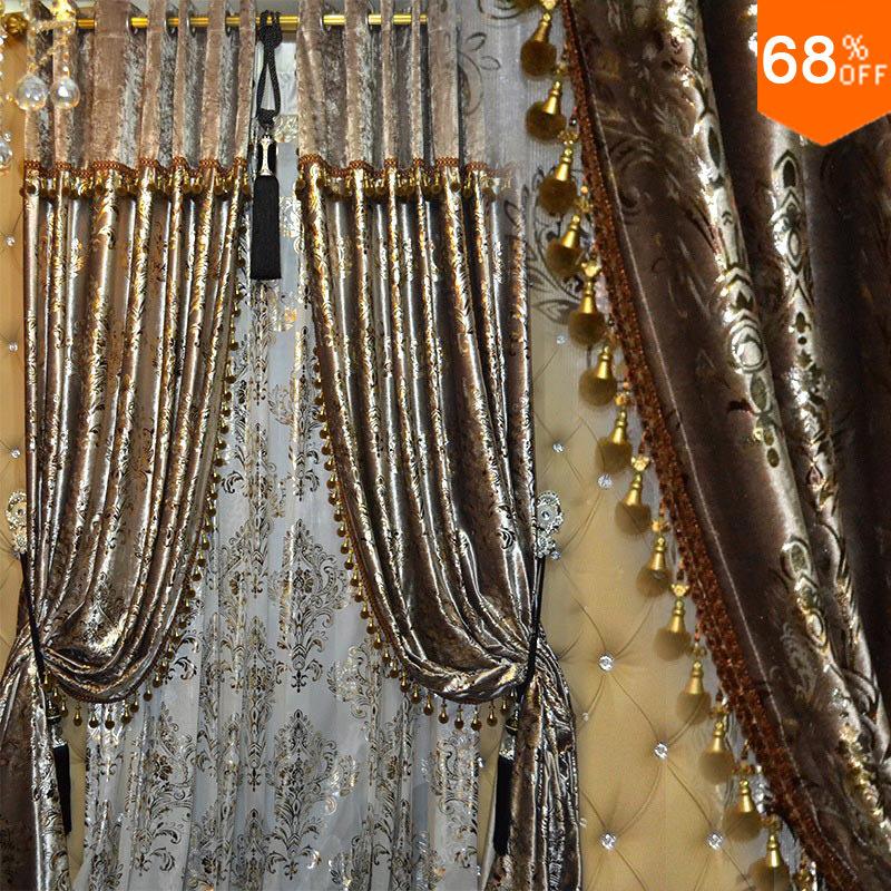Aliexpress Com Buy High Quality Thick Flocked Modern: Popular Gold Velvet Curtains-Buy Cheap Gold Velvet