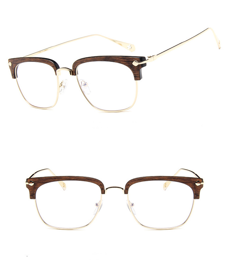 2018 Wenzhou wholesale High quality Vintage men women optical glasses frame Half frame Wooden eyeglasses de grau eyewear frames
