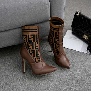 CSB136 2019 new style F word wool knit color matching high heel women's boots